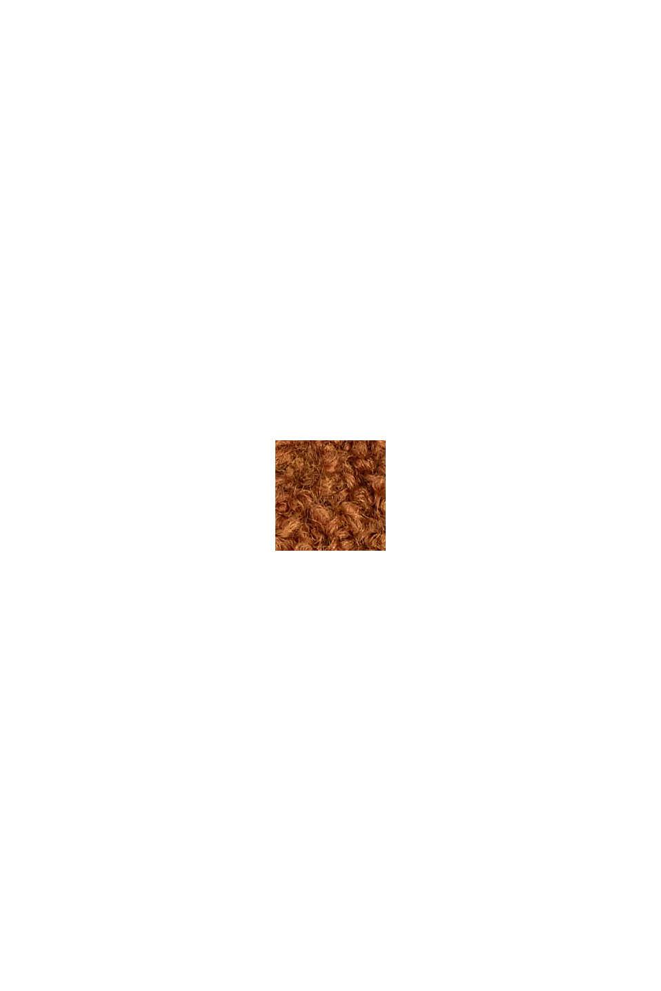 Con lana e alpaca: manicotti in maglia effetto bouclé, RUST BROWN, swatch