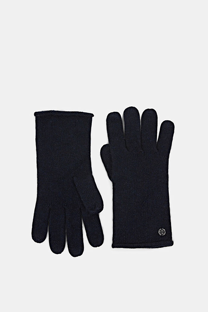 Gloves non-leather, NAVY, detail image number 0