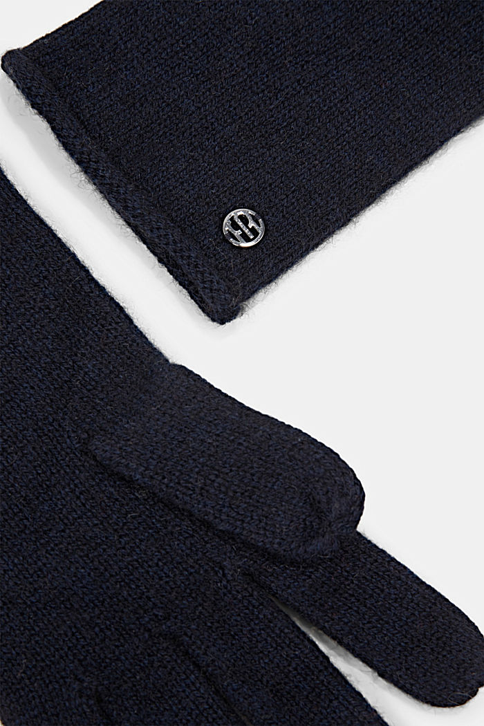 Gloves non-leather, NAVY, detail image number 1