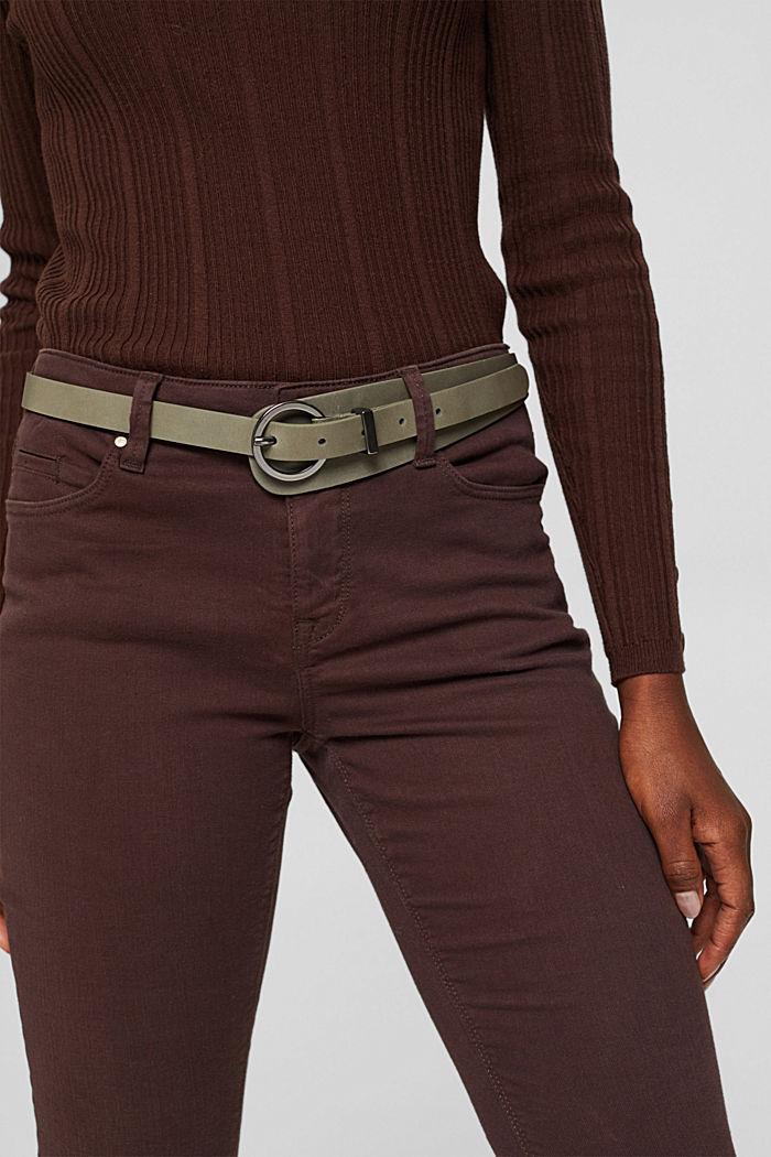 Belts leather, DARK KHAKI, detail image number 2