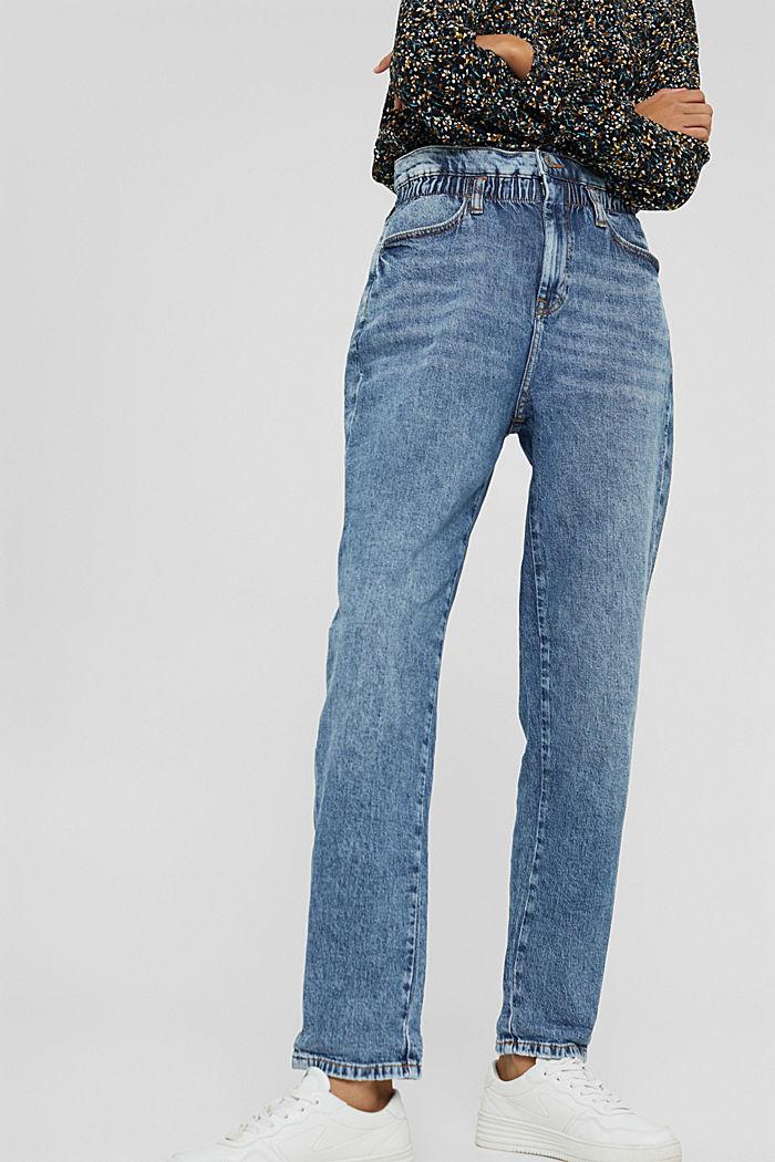 Jeans mit Gummibund aus Bio-Baumwoll-Mix, BLUE MEDIUM WASHED, detail image number 0