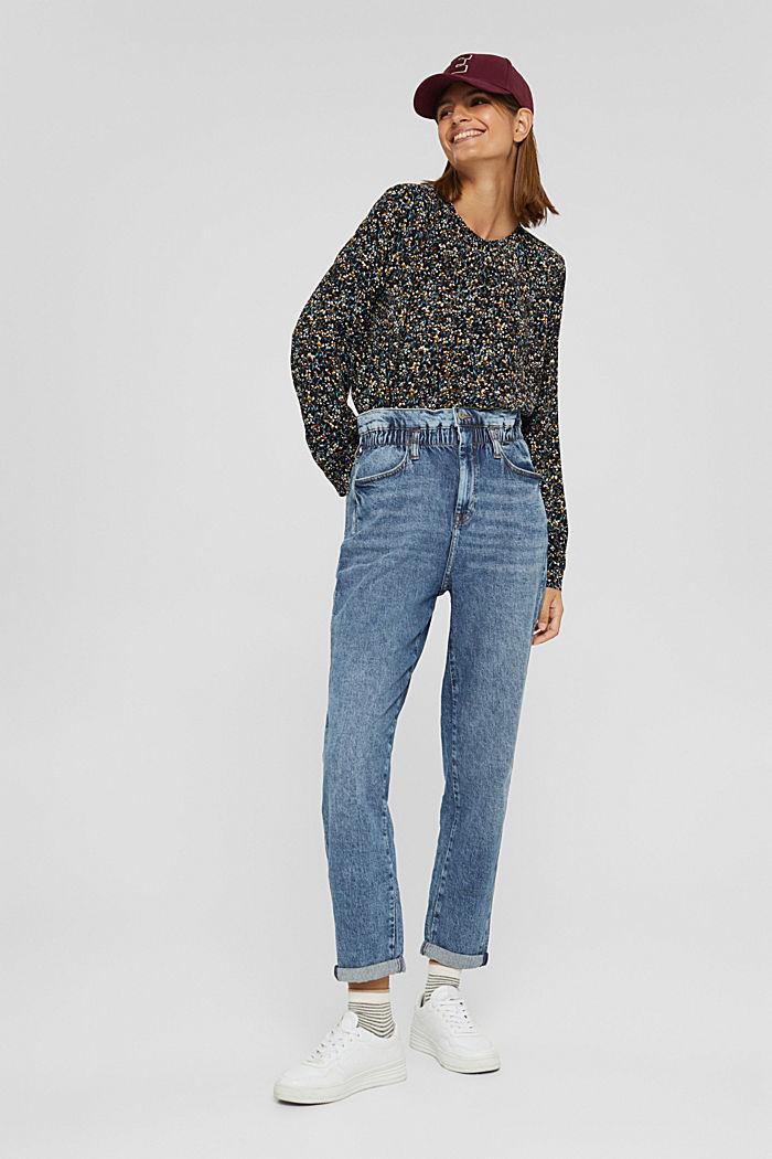 Jeans af økologisk bomuldsblanding med elastiklinning