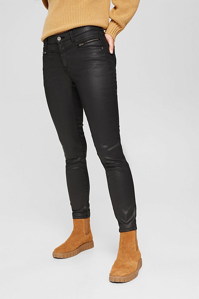 Gecoate broek met ritsen, BLACK, detail image number 0