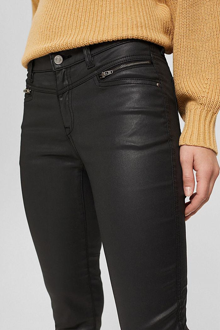 Gecoate broek met ritsen, BLACK, detail image number 2