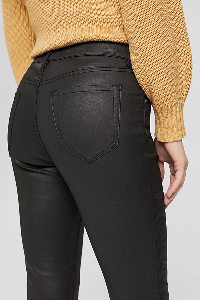 Gecoate broek met ritsen, BLACK, detail image number 5