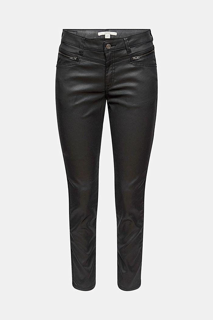 Gecoate broek met ritsen, BLACK, detail image number 7