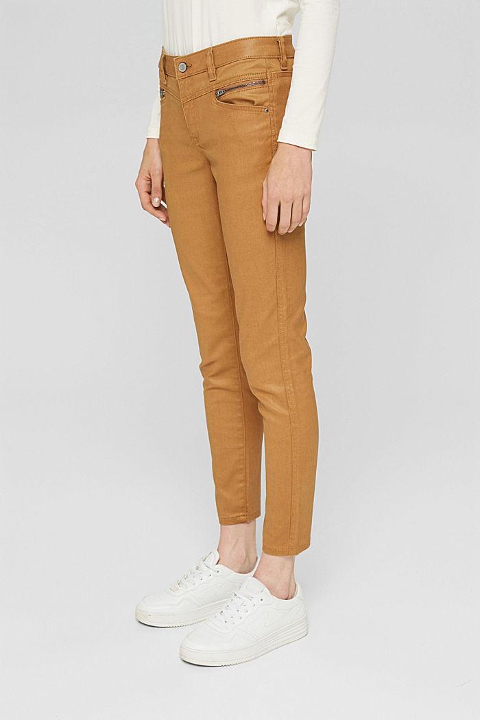 Beschichtete Hose mit Zippern, CAMEL, detail image number 0