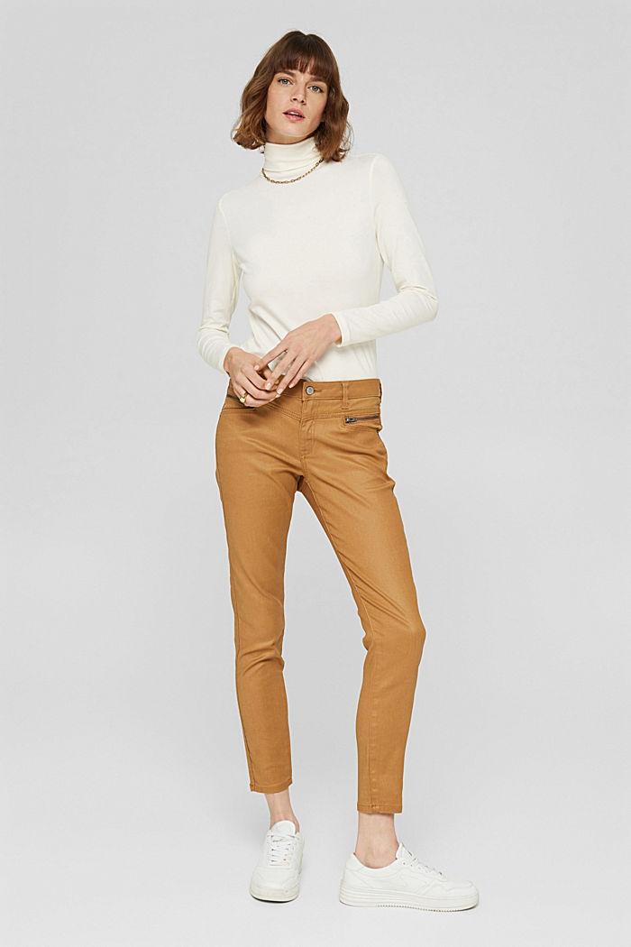 Beschichtete Hose mit Zippern, CAMEL, detail image number 6