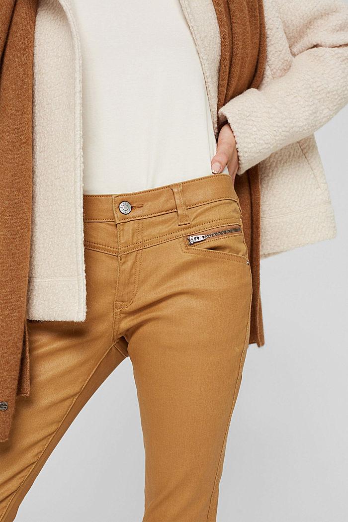 Beschichtete Hose mit Zippern, CAMEL, detail image number 2