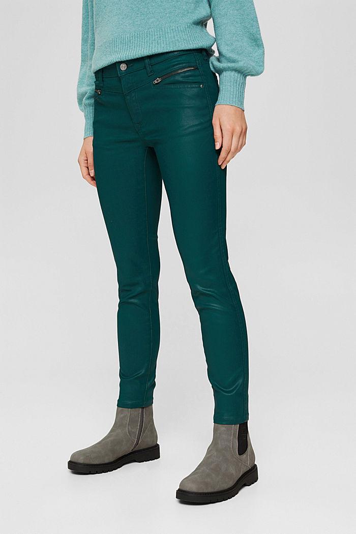 Beschichtete Hose mit Zippern, DARK TEAL GREEN, detail image number 0