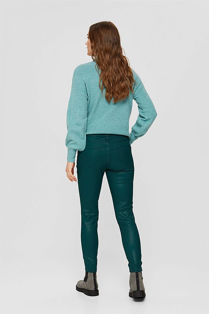 Beschichtete Hose mit Zippern, DARK TEAL GREEN, detail image number 3