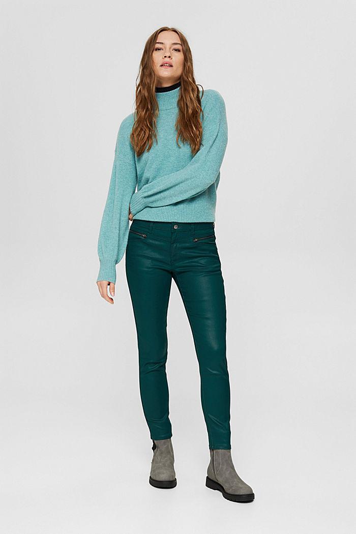 Beschichtete Hose mit Zippern, DARK TEAL GREEN, detail image number 6
