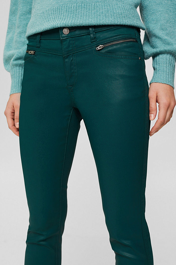 Beschichtete Hose mit Zippern, DARK TEAL GREEN, detail image number 2
