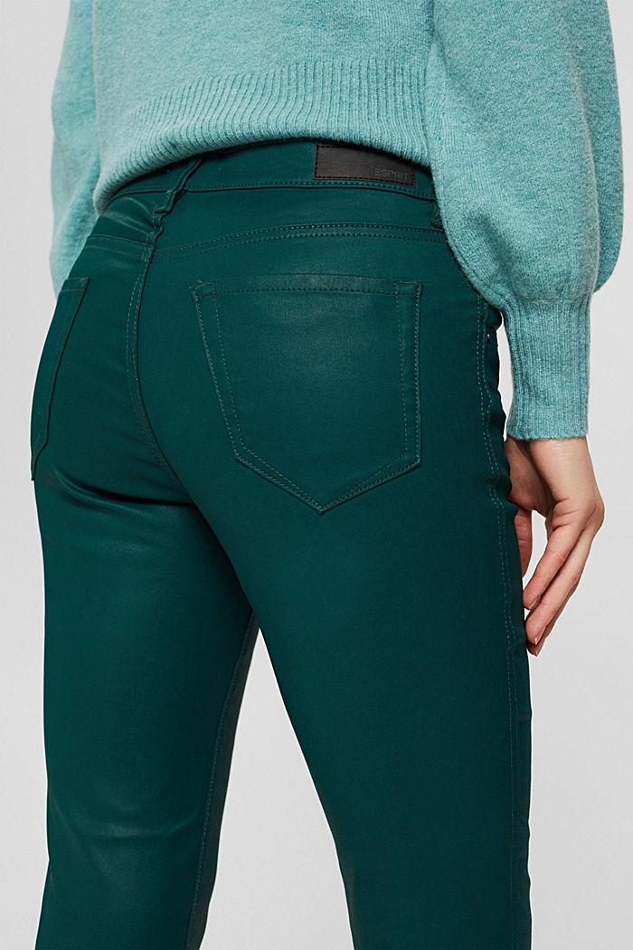 Beschichtete Hose mit Zippern, DARK TEAL GREEN, detail image number 5