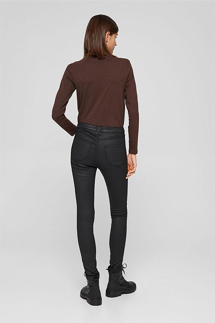 Beschichtete Stretch-Hose mit Doppelknopf, BLACK, detail image number 3