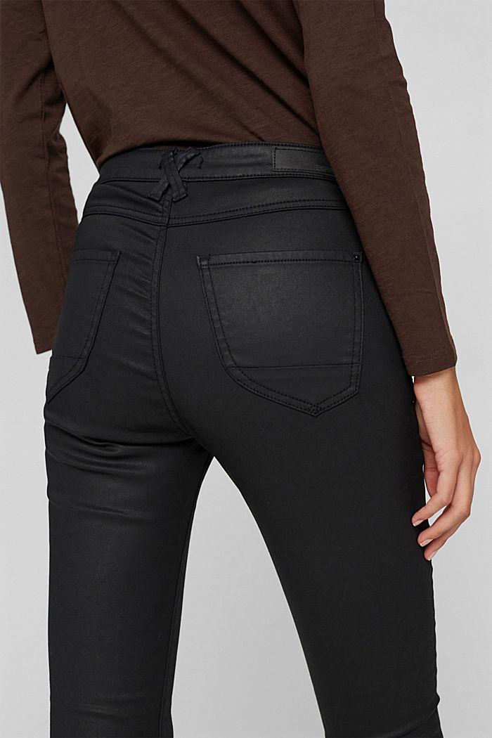 Beschichtete Stretch-Hose mit Doppelknopf, BLACK, detail image number 2