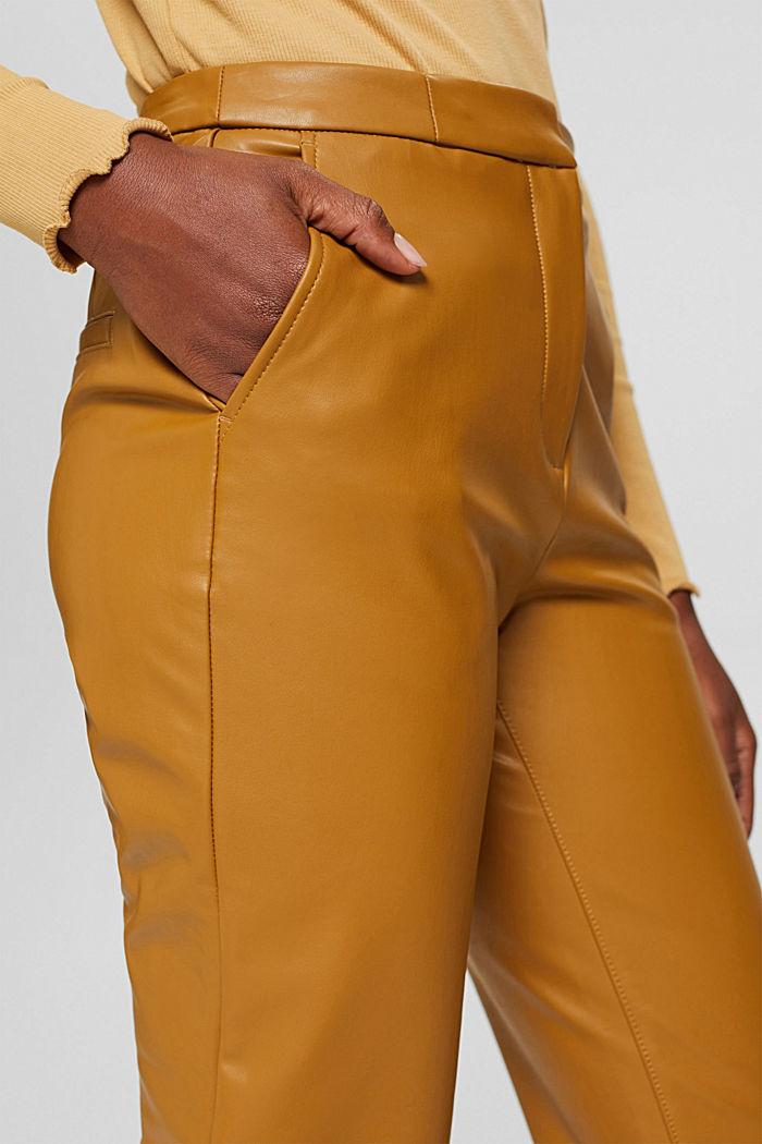 Cropped broek van imitatieleer, CAMEL, detail image number 2