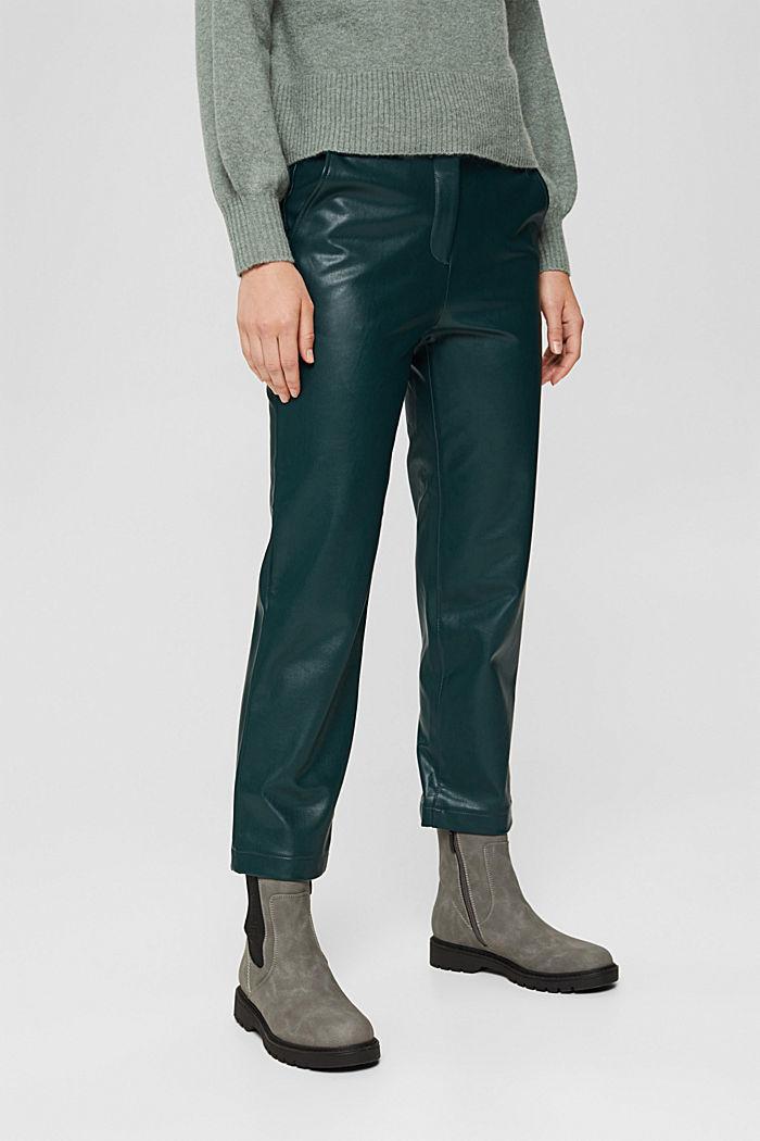 Pantalon court en similicuir, DARK TEAL GREEN, detail image number 0
