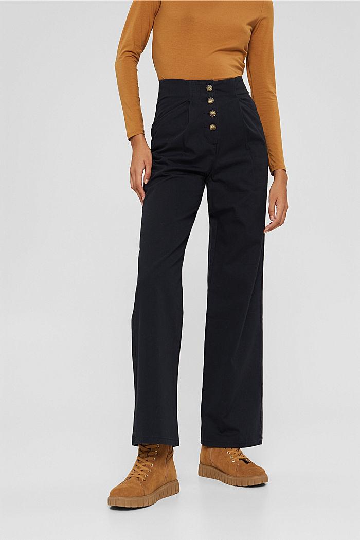 Wijde broek met knoopsluiting, 100% katoen, BLACK, detail image number 0