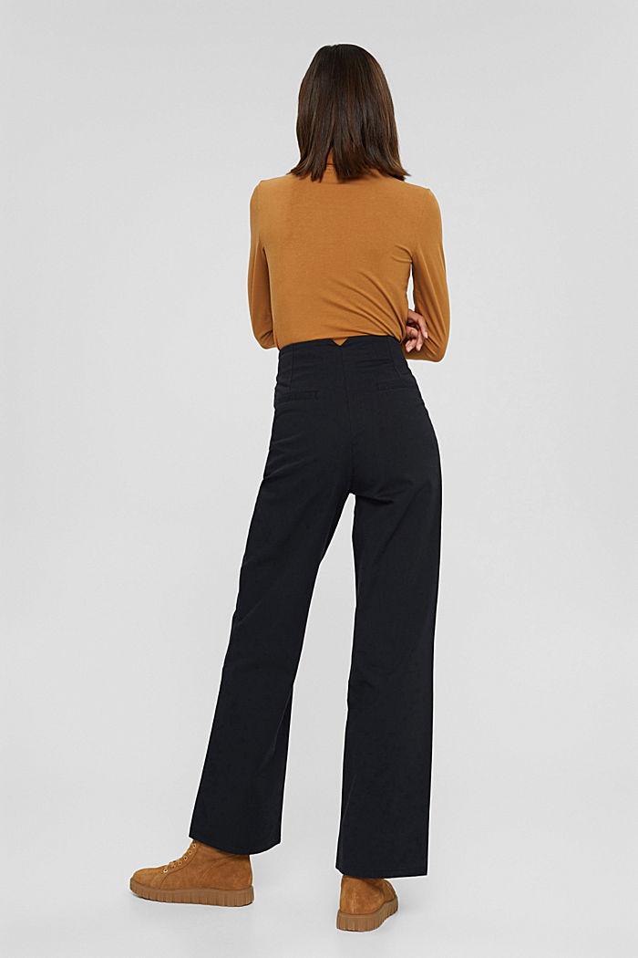 Wijde broek met knoopsluiting, 100% katoen, BLACK, detail image number 3