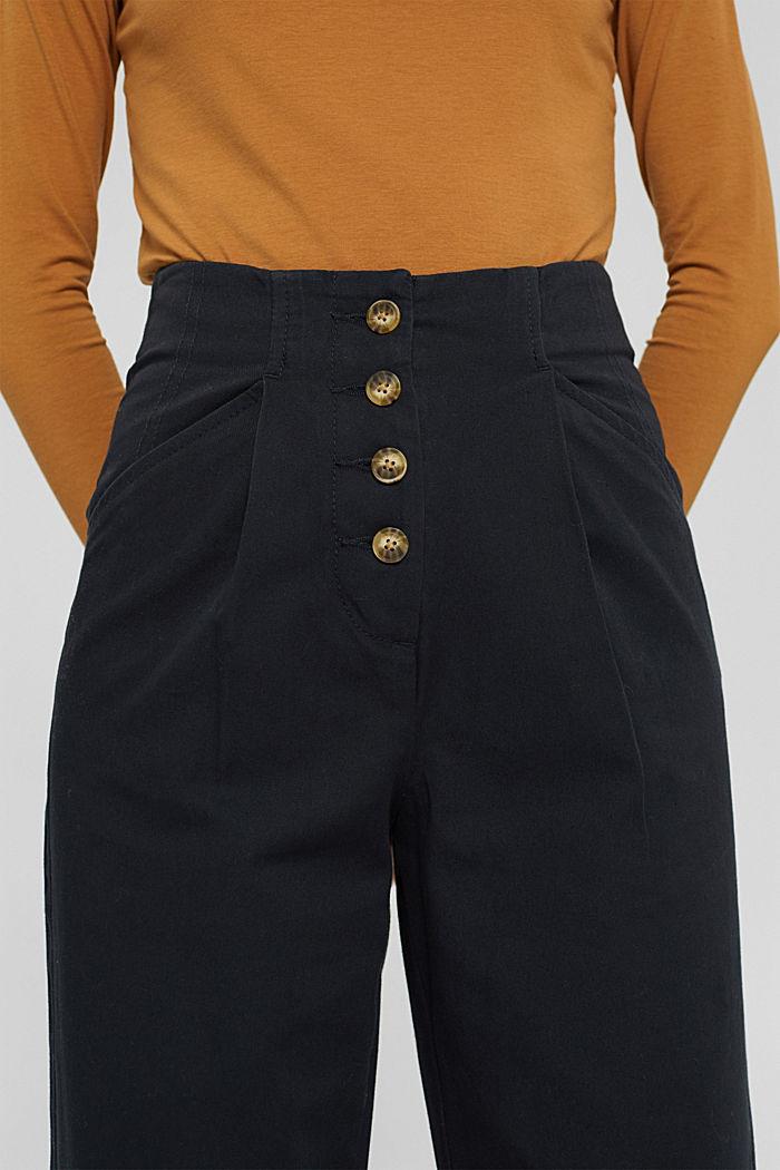 Wijde broek met knoopsluiting, 100% katoen, BLACK, detail image number 2