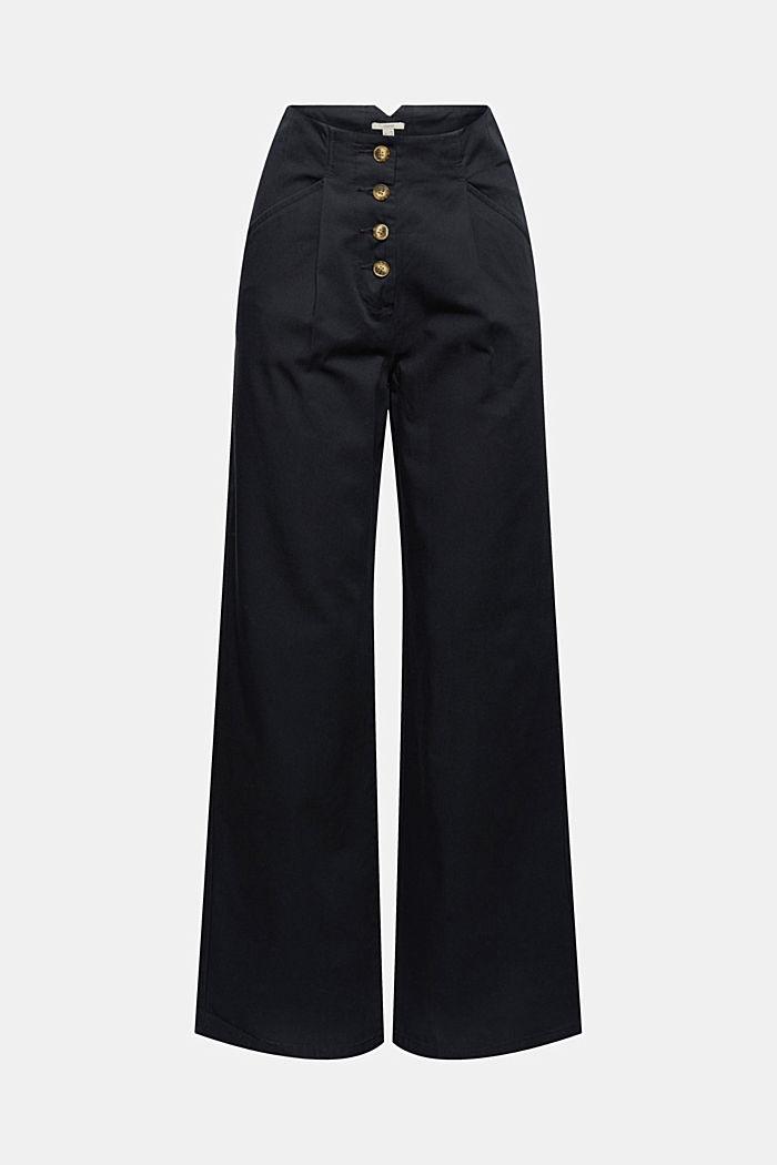 Wijde broek met knoopsluiting, 100% katoen, BLACK, detail image number 6