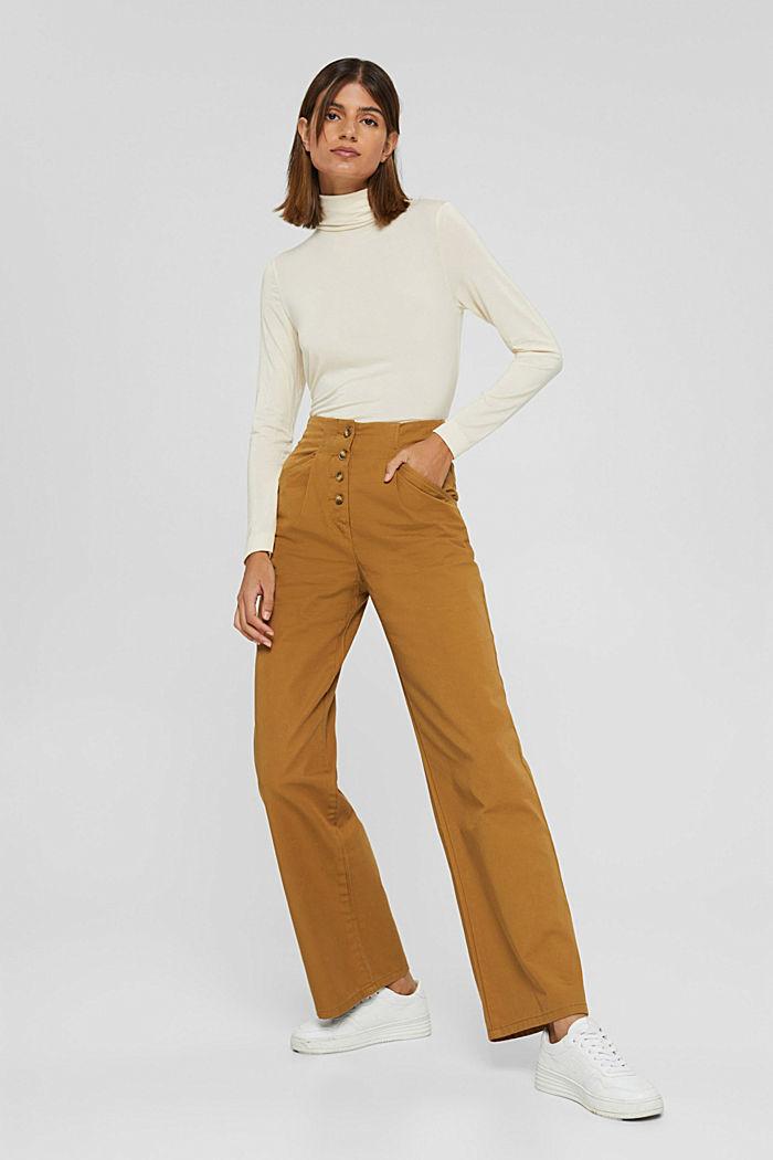 Weite Hose mit Knopfleiste, 100% Baumwolle, CAMEL, detail image number 5