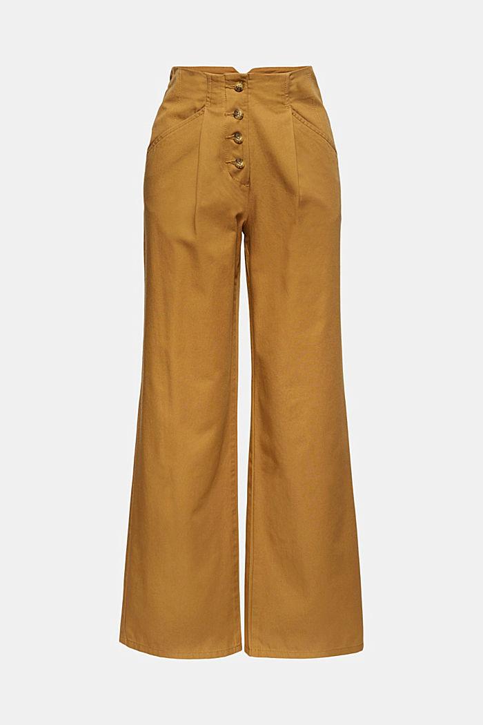 Weite Hose mit Knopfleiste, 100% Baumwolle, CAMEL, detail image number 6