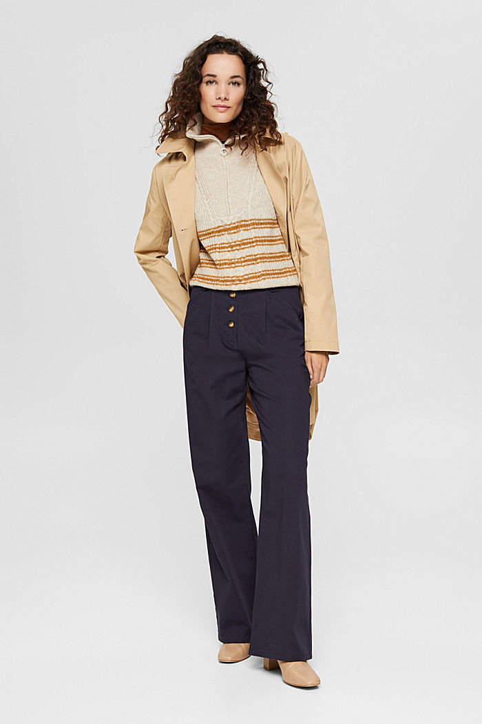 Weite Hose mit Knopfleiste, 100% Baumwolle, NAVY, detail image number 1