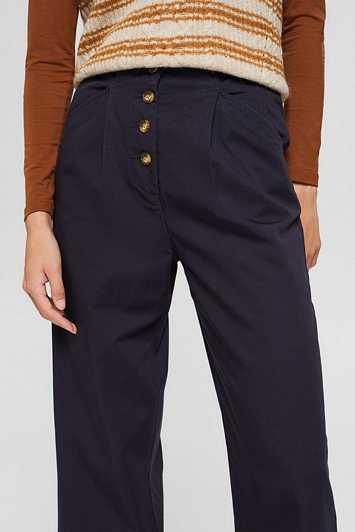 Weite Hose mit Knopfleiste, 100% Baumwolle, NAVY, detail image number 2