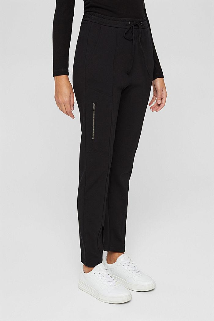 Jogger-Hose mit Zippern aus Jersey, BLACK, detail image number 0