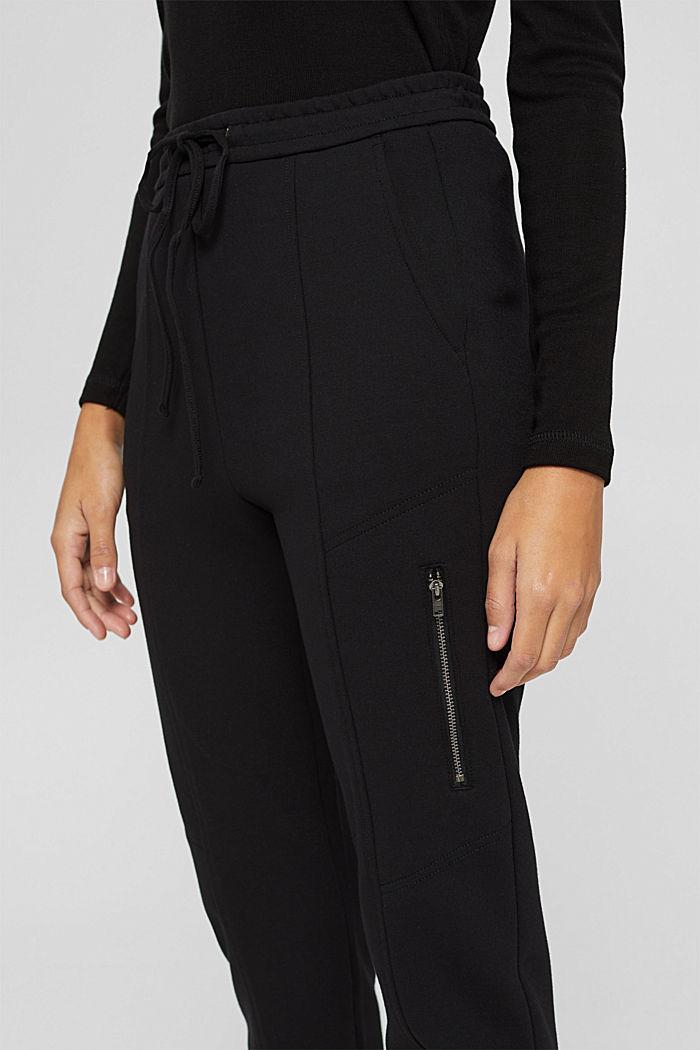 Jogger-Hose mit Zippern aus Jersey, BLACK, detail image number 2