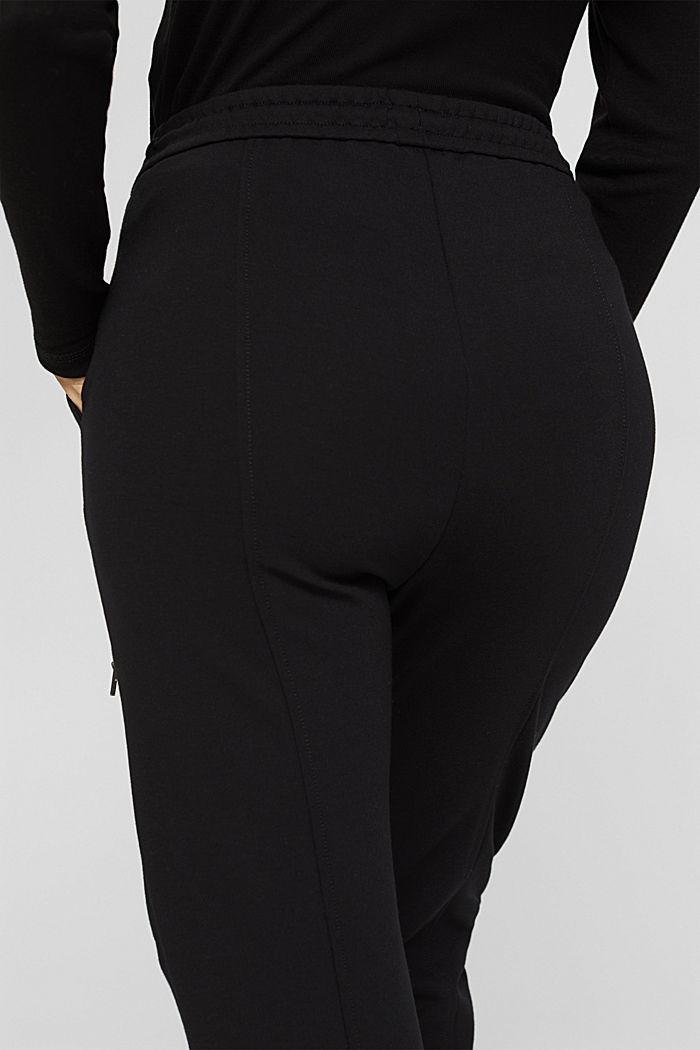 Jogger-Hose mit Zippern aus Jersey, BLACK, detail image number 5