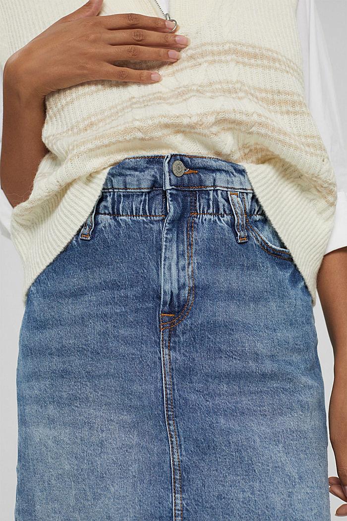 Jupe en jean à élastique, en coton biologique mélangé, BLUE MEDIUM WASHED, detail image number 2