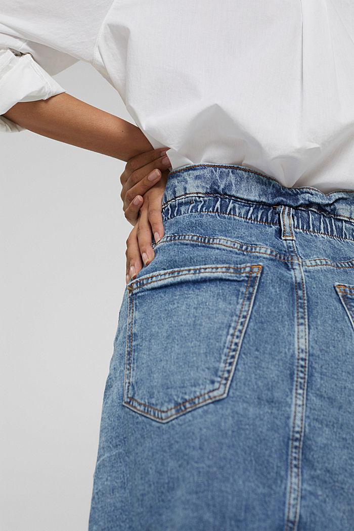 Jupe en jean à élastique, en coton biologique mélangé, BLUE MEDIUM WASHED, detail image number 5