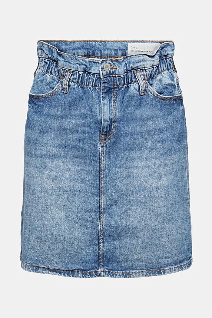 Jupe en jean à élastique, en coton biologique mélangé, BLUE MEDIUM WASHED, detail image number 7