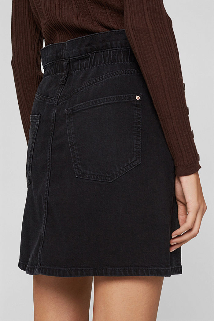 Jeans-Minirock mit Paperbag-Bund, BLACK DARK WASHED, detail image number 2