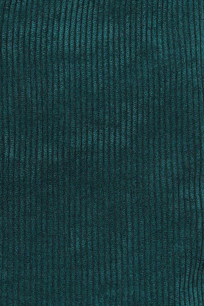 Recycelt: Minirock aus Cord mit Knopfleiste, DARK TEAL GREEN, detail image number 4