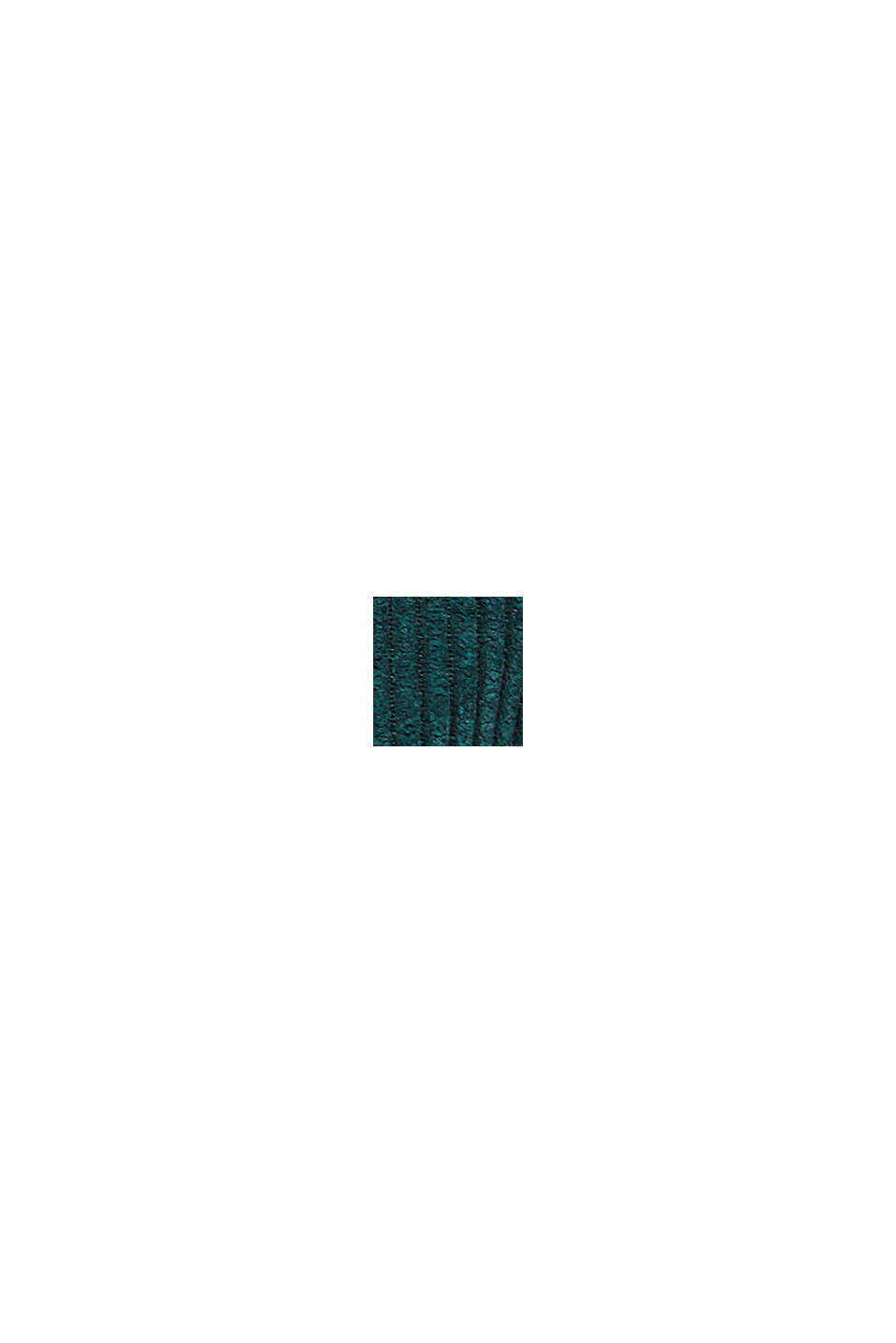 In materiale riciclato: minigonna in velluto con abbottonatura, DARK TEAL GREEN, swatch