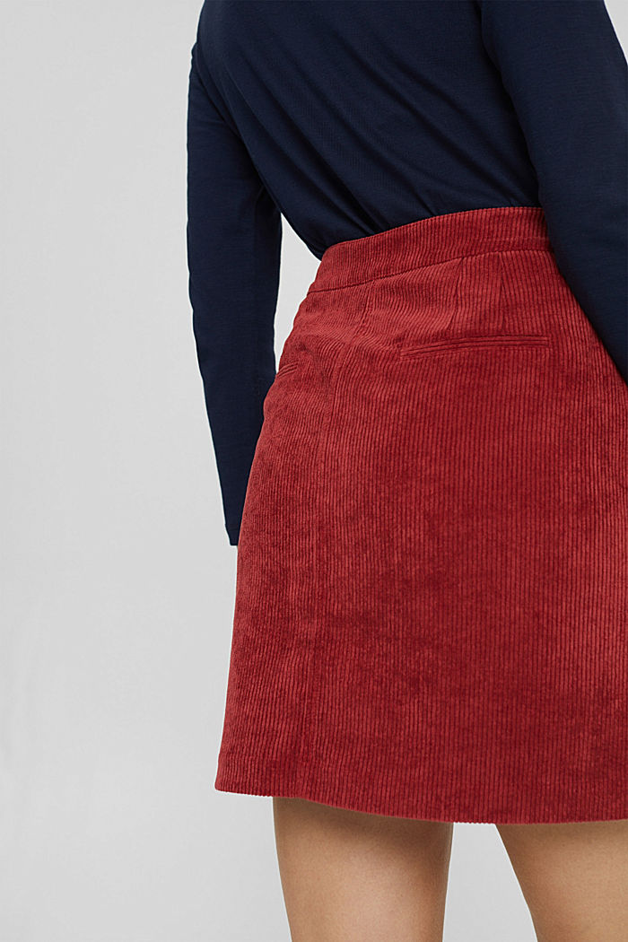 Recycelt: Minirock aus Cord mit Knopfleiste, DARK RED, detail image number 5