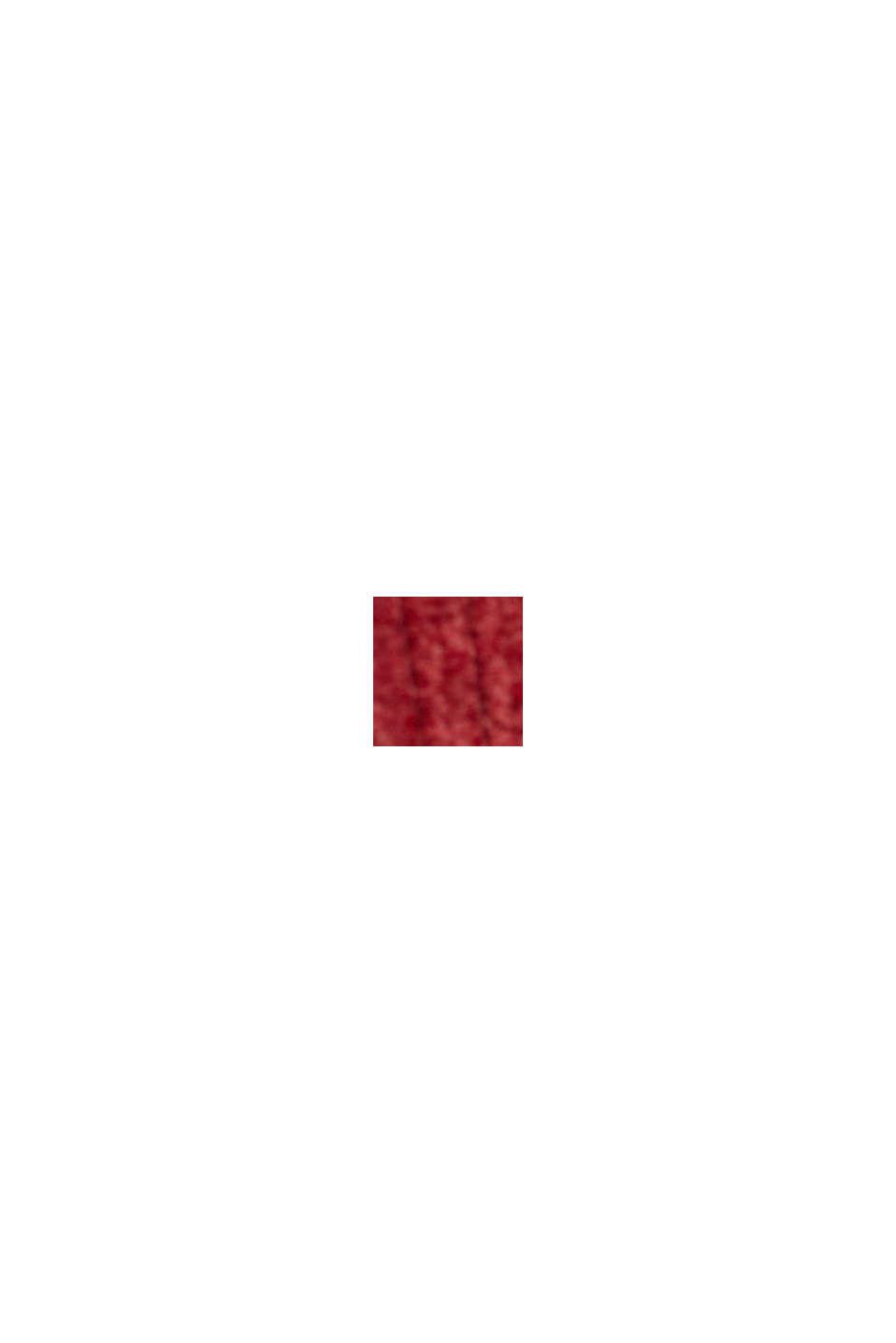 In materiale riciclato: minigonna in velluto con abbottonatura, DARK RED, swatch