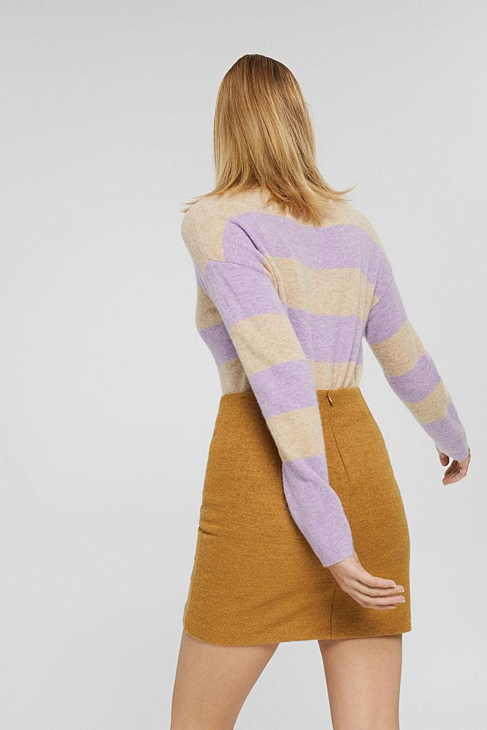 Mit Wolle: Minirock mit hohem Bund, CAMEL, detail image number 3