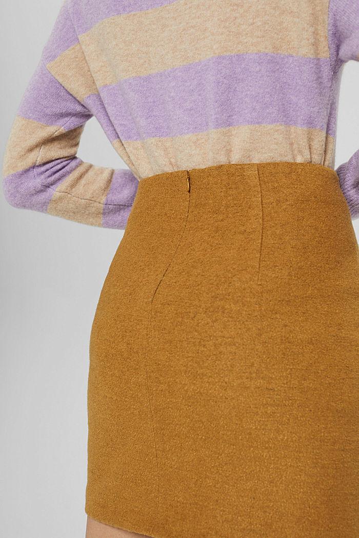 Mit Wolle: Minirock mit hohem Bund, CAMEL, detail image number 2