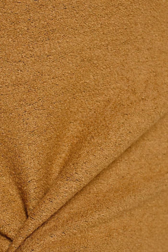 Mit Wolle: Minirock mit hohem Bund, CAMEL, detail image number 4