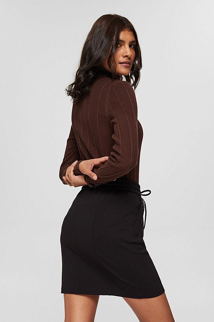 Jupe en jersey à taille élastique et zips, BLACK, detail image number 3