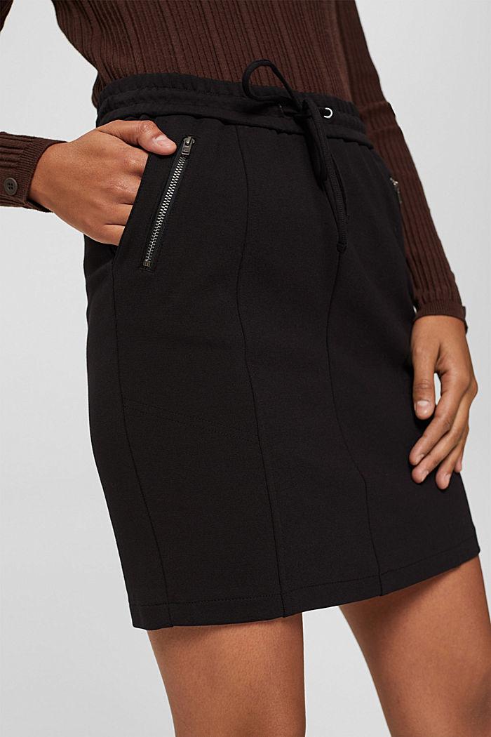 Jupe en jersey à taille élastique et zips, BLACK, detail image number 2