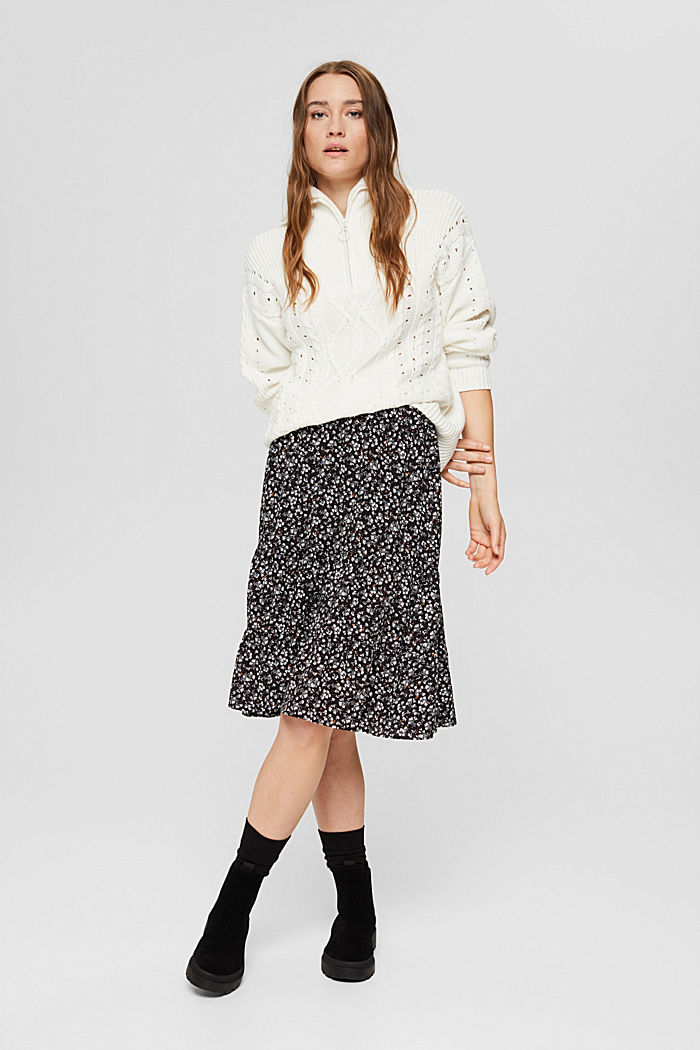 Light woven Skirt, BLACK, detail image number 5