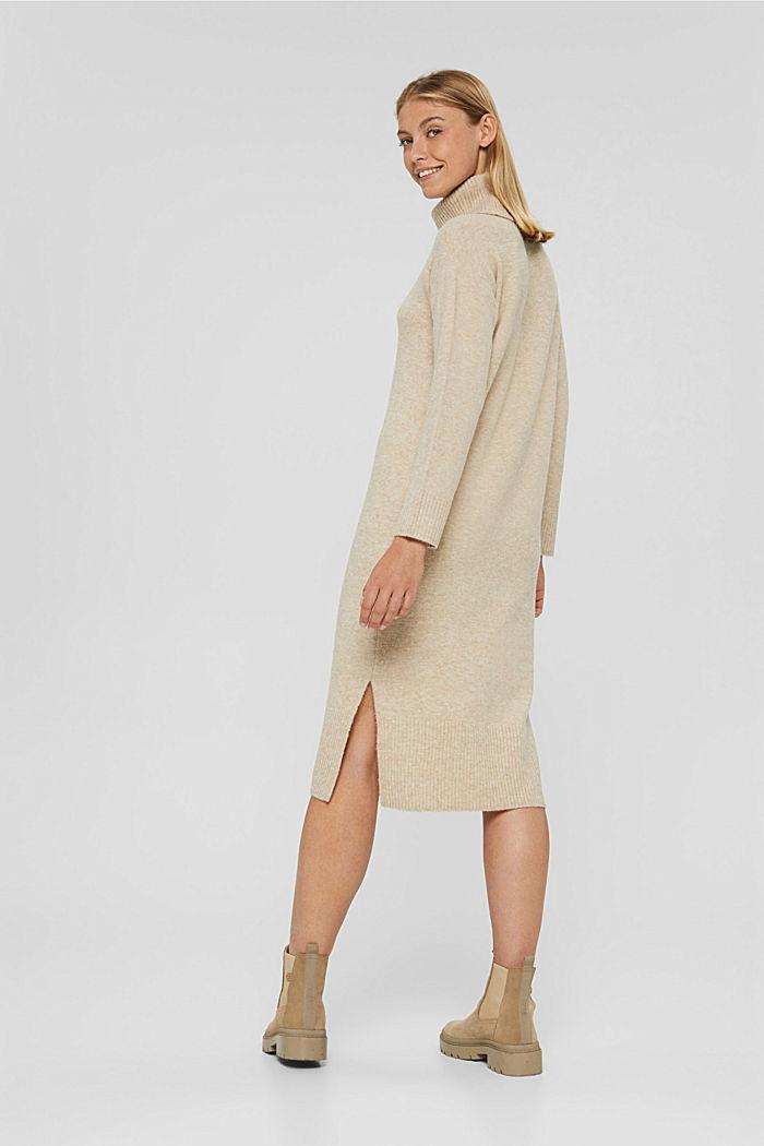 Met wol/alpaca: gebreide jurk met col, SAND, detail image number 2