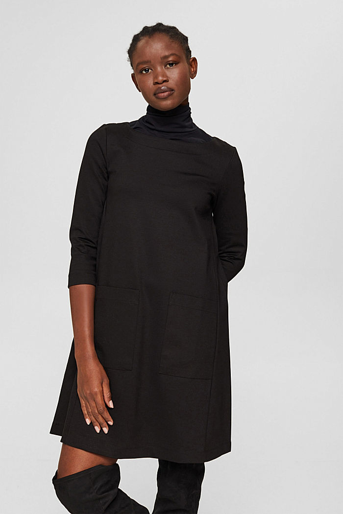 Robe évasée en jersey, LENZING™ ECOVERO™, BLACK, detail image number 0