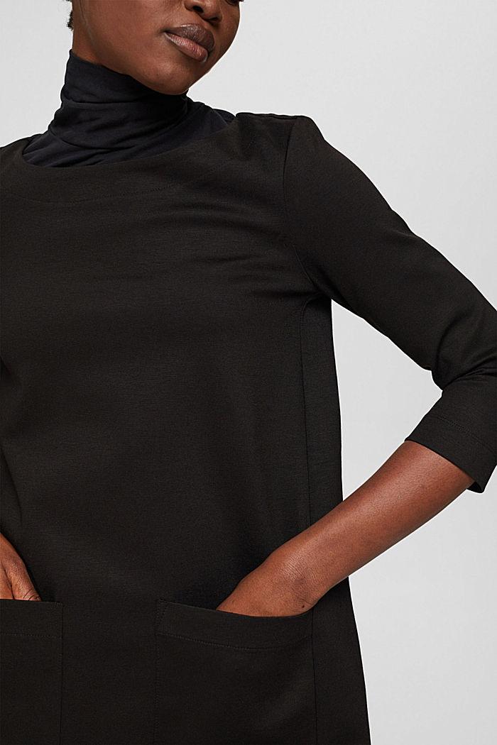 Robe évasée en jersey, LENZING™ ECOVERO™, BLACK, detail image number 3